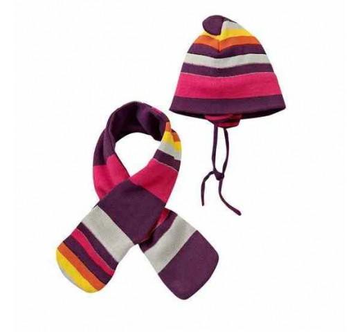 Шапка и шарф в фиолетовую полоску Topomini
