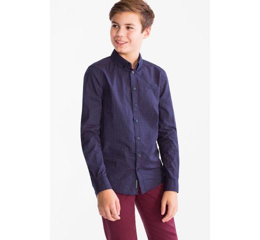 Рубашка синяя в бордовый горох C&A