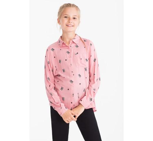 Блузка розовая с енотами C&A