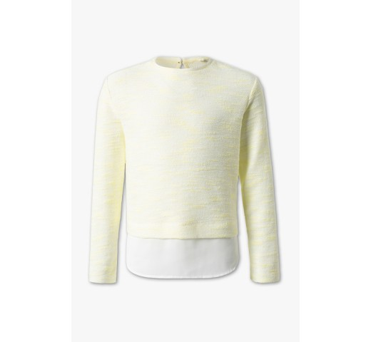 Пуловер желтый с блузкой C&A