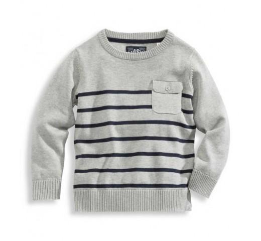 Пуловер серый в полоску