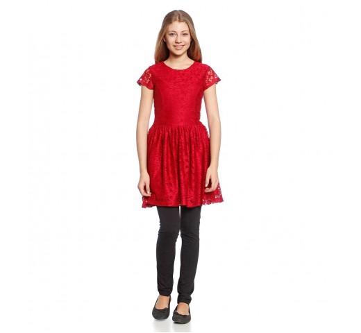 Платье ажурное красное